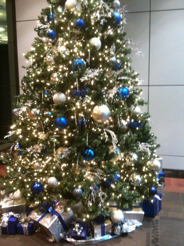 blue gold and silver christmas tree