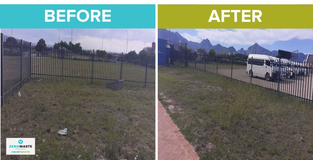 before and after clean up at Garden Route Mall