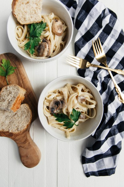 Simple Mushroom Fettuccine