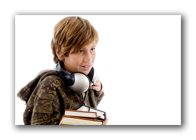 Boy Enjoying Audio Books small