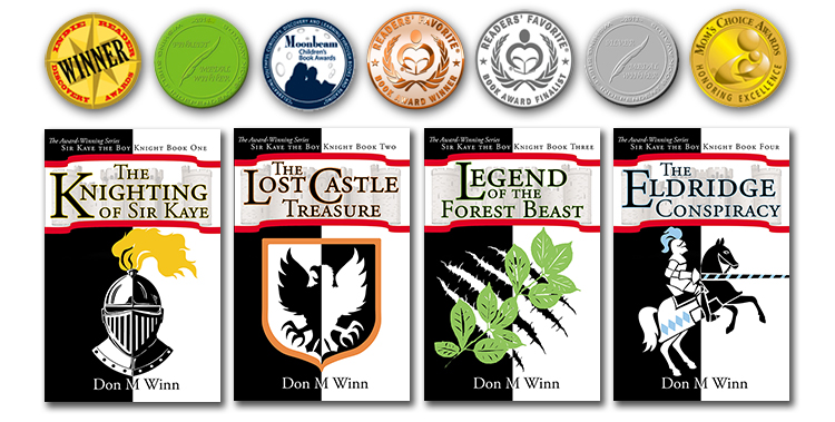 Covers of four adventure chapter books for kids by Don M. Winn, along with the many awards they have won, including the Indie Reader Discovery award, the wishing shelf book award, the Moonbeam children's book award, the Readers' favorite award, and the Mom's choice award.