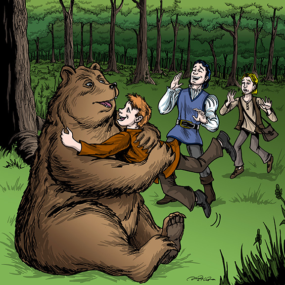 Scene of Kaye meeting Marigold the dancing bear from the award-winning children's chapter book Legend of the Forest Beast by Don M. Winn.