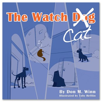 Cover of picture book The Watch Cat, by Don M. Winn, showing several alert watch dogs and a sleeping watch cat in silhouette.