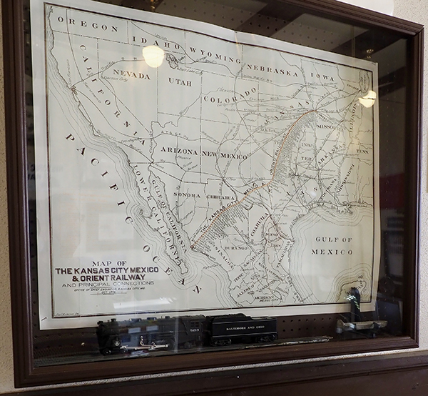 A map of the Kansas City Mexico and Orient Railway original route leading through San Angelo.