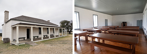 Schoolhouse exterior and interior at Fort McKavett.