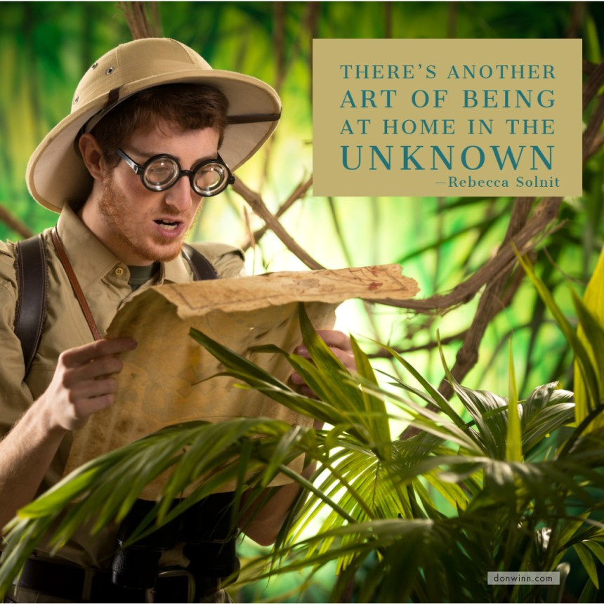 A jungle explorer wearing a safari had and thick glasses ponders a map while surrounded by dense foliage. Both the pandemic and dyslexia can make a person feel lost and out of control. Help for adults with dyslexia is available.