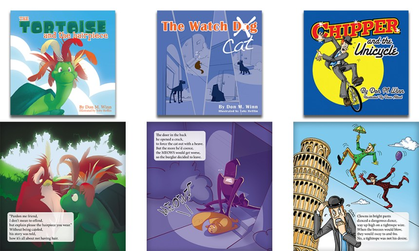 Three covers of picture books by Don M. Winn, including The Tortoise and the Hairpiece, The Watch Cat, and Chipper and the Unicycle, along with a page of text from each book with some advanced vocabulary words on each page, so parents can use big words with kids.