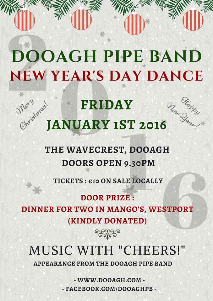 New Year's Dance 2016 Dooagh Pipe Band