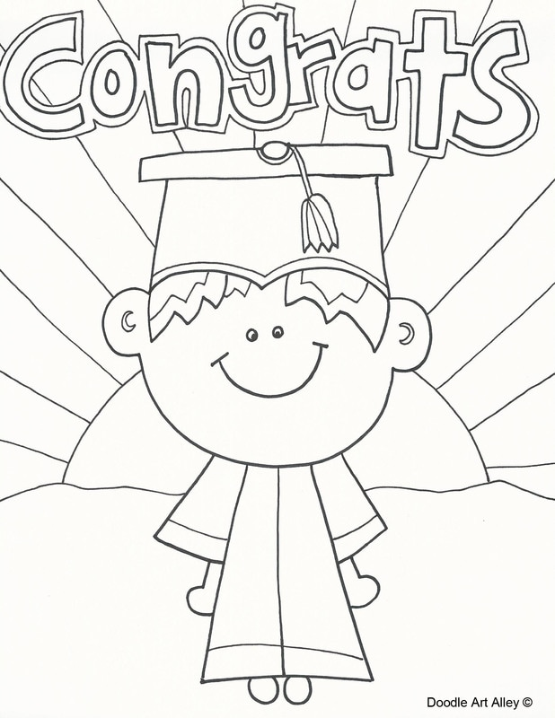 End Of The Year Coloring Pages : coloring, pages, Graduation, Coloring, Pages, DOODLE, ALLEY