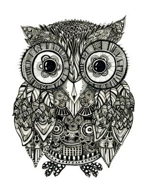 zentangle drawing owl zen animals fineliner pen zendoodle mandala meditation handmade doodle animal drawings tangle zentangles artwork coloring pages sharpie