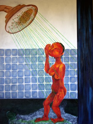 woman in the shower room
