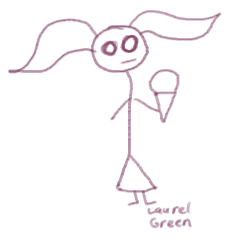 a doodle of a girl with pigtails eating an ice cream cone