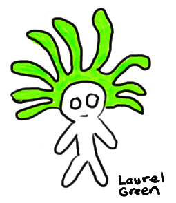 a doodle of a little dude with green hair