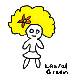 a drawing of a girl with a yellow afro