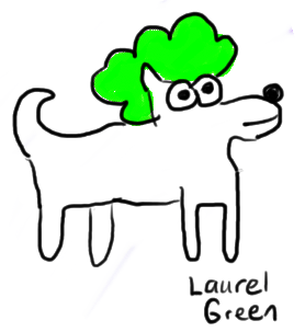 a drawing of a dog in a green wig