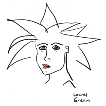 a drawing of a girl with spiky hair