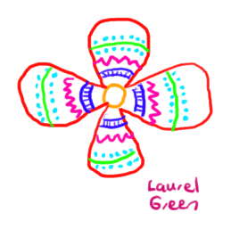 a doodle of a flower with a design on it