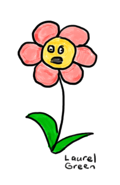 a drawing of a flower with a shocked look on its face