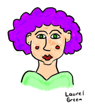 a drawing of a clownish girl