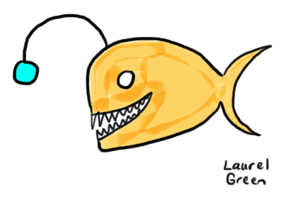 a drawing of an anglerfish