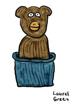 a drawing of a monkey in a bucket