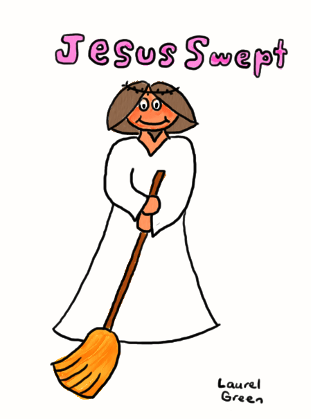 a drawing of jesus sweeping