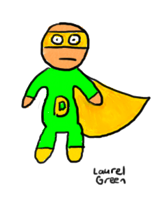 a drawing of a derpy superhero