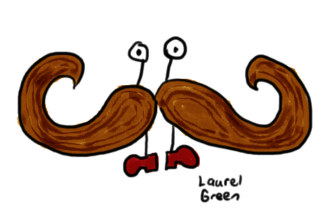 a drawing of a moustache man