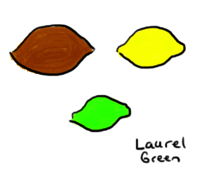 a drawing of a lemon, a lime and a yam