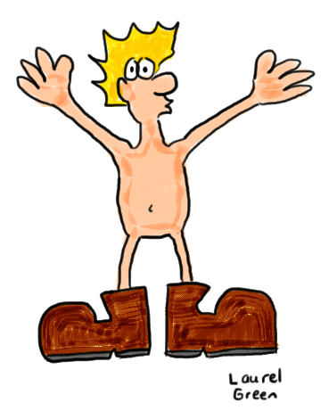 a drawing of a man that is naked except for the boots that he is wearing