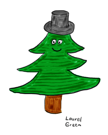 a drawing of a pine tree wearing a top hat