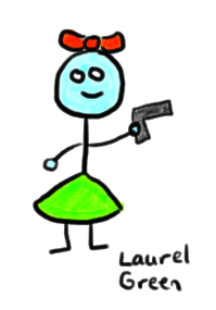 a drawing of a female zombie holding a gun