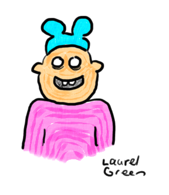 a drawing of a guy wearing a weird hat