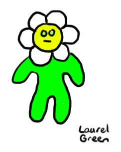 a drawing of a guy with a daisy for a head