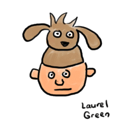 a drawing of a guy wearing a hat shaped like a puppy