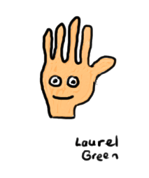 a drawing of a hand with a face on it