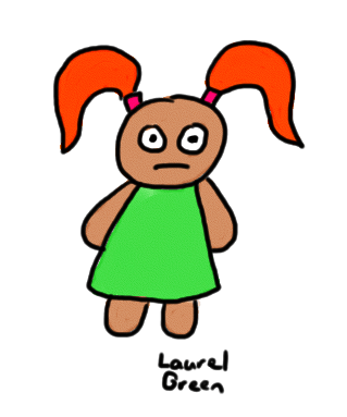 a drawing of a girl with orange hair wearing a green dress