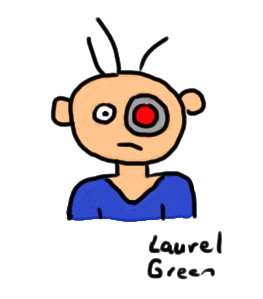 a drawing of a guy with one eye that is a laser