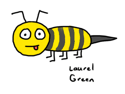 a drawing of a derpy-looking bee