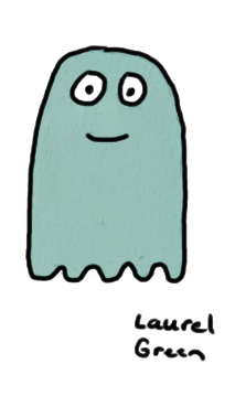 a drawing of a ghost with a smile on its face