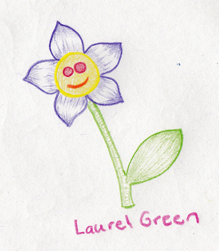 a drawing of a flower with a happy face