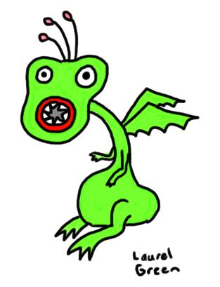 a drawing of a flatulent dragon