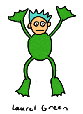a drawing of a creature that is part boy and part frog