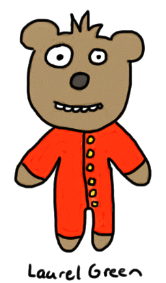 a drawing of a bear wearing long underpants