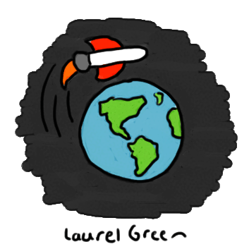 a drawing of a rocket orbiting earth
