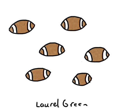 a drawing of some footballs