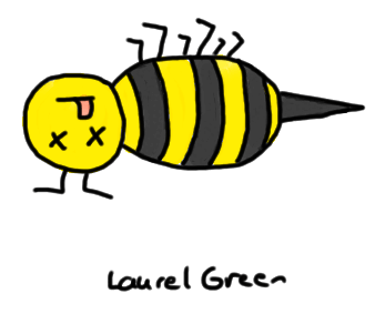 a drawing of a dead bee