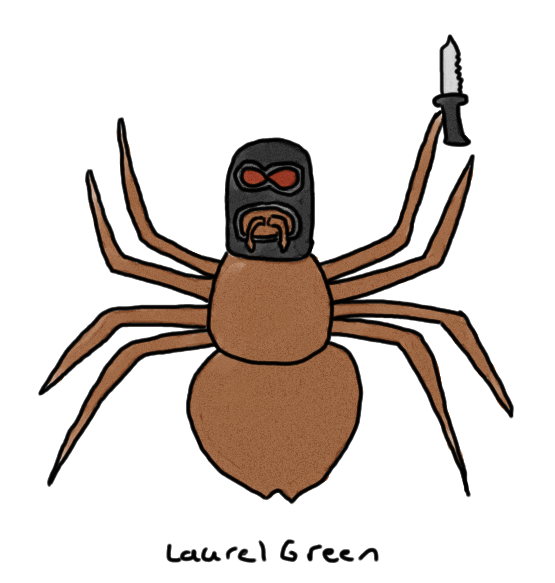 a drawing of a false widow spider wearing a balaclava and holding a knife