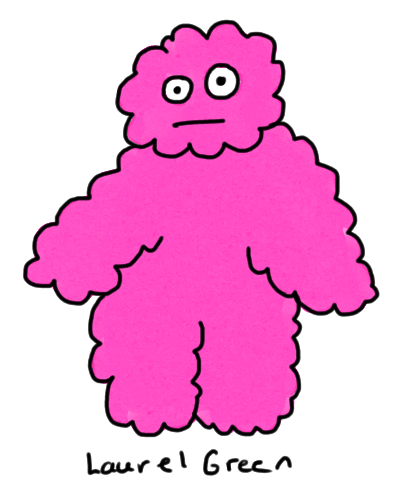 a drawing of a fuzzy pink person