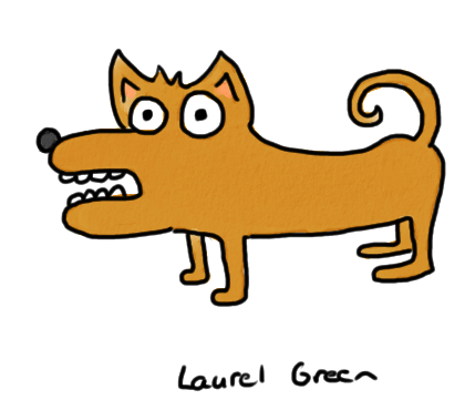 a drawing of a creepy, little dog